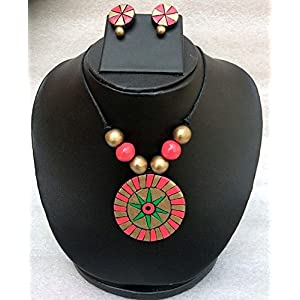 Anikalan Designs Pink Suryakiran Terracotta Necklace Set