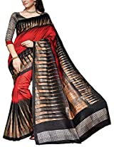 Shree Padam Designer Women's Self Print Saree (PS1671, Black)