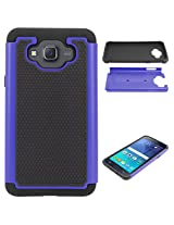 DMG Hybrid Dual Layer Armor Defender Protective Case Cover for Samsung Galaxy J7 J700 (Blue)