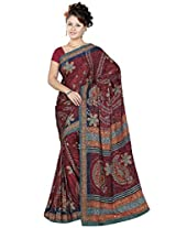 Sitaram Women's Brown coloured georgette saree with blouse piece