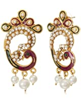 Tribal Zone Drop Earrings for Women (Golden and Multi-Color) (VDER152)