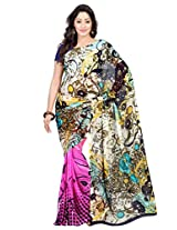 Admyrin Pink Georgette Saree with Navy Blue blouse Piece