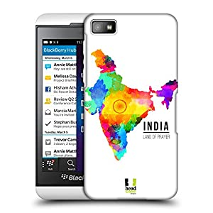 Head Case Designs Land of Prayer India Watercoloured Maps Protective Snap-on Hard Back Case Cover for BlackBerry Z10