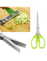 5 Layers Scissors Sushi Shredded Scallion Cut Herb Spices Scissors Cooking Tools