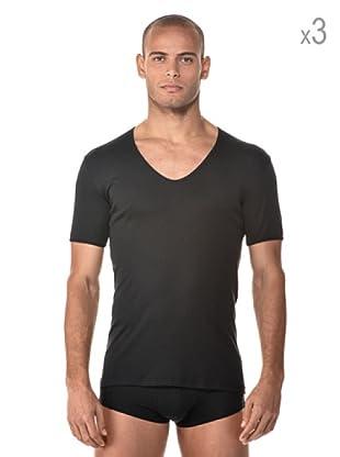 Anyma by Cotonella Pack 3 Camisetas Manga Corta Cuello Barco (Negro)
