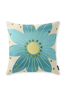 emma at home Oahu Embroidered Linen Pillow (Aqua)