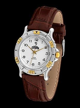 Dogma G1017 - Reloj de Caballero movimiento de quarzo con correa de piel marrón