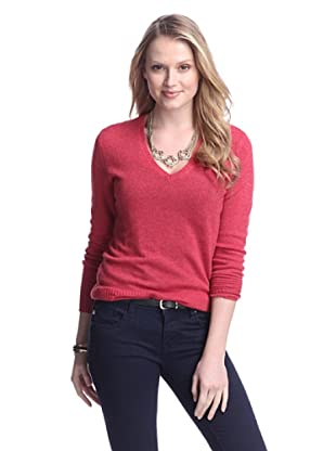 Cashmere Addiction Women's Long Sleeve V-Neck Sweater (Lipstick)