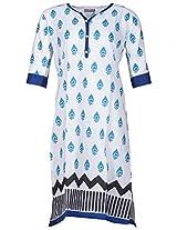 Bunkaari India Women's Cotton Regular Fit Kurti (00LK 17_46, White, 46)