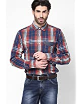 Checked Blue Casual Shirt Inego