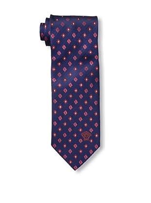 Versace Men's Floral Tie, Dark Blue/Red