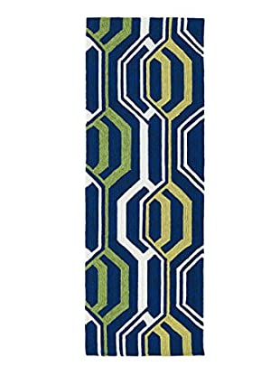 Kaleen Escape Indoor/Outdoor Rug, Navy, 2' x 6' Runner