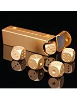 5pcs Set Precision Aluminum Alloy Dice Gold Color Solid Metal Dice Poker Dominoes Tables Board Game Drinking Game Portable Dice