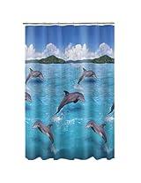 Maytex Mills Splash Dolphin PEVA Vinyl Shower Curtain, Blue