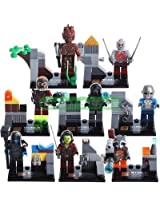 8 Piece Marvel Superhero Guardians Of The Galaxy Groot Rocket Action Mini Figures With Out Original Box