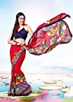 Stylelok Red Georgette Saree SL 100254