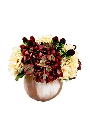 Creative Displays Cream & Cranberry Hydrangea & Thistle Floral in Round Colored Glass, 13x14x13