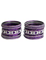 DollsofIndia Two Sets of Stone Studded Purple with Silver Glitter Metal Bangles - Metal - Purple