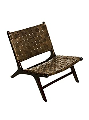 Foreign Affairs Side Chair Lounge, Woven Brown Leather