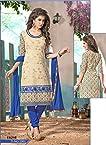 Fabfirki-Cream and Blue New Designer Salwar Suit
