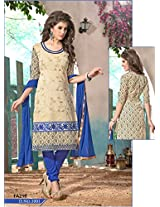 New Designer And Party Wear Cream And Blue Salwar Suit