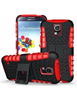 JKase Protective Ultra Fit Tough Rugged Dual Layer Protection Case Cover with Build in Stand for Galaxy S5 - Red