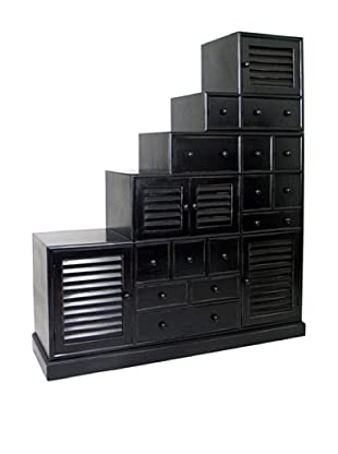 Charleston Tonsu Step Cabinet, Antique Black