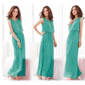CHIFFON BOHO STYLE GREEN LONG DRESS