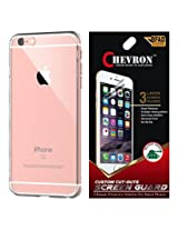 Chevron Crystal Clear Case Soft Flexible TPU Back Cover for Apple iPhone 6S with HD Screen Guard (Transparent)