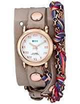 La Mer Collections Women's LMCW9006 Rose Gold-Tone and Fuchsia Friendship Bracelet Wrap Watch