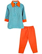 lil'posh Kurta with Pyjama - Teal Blue/Orange (3-4Y)