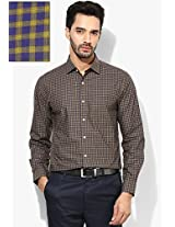Green Check Slim Fit Formal Shirt Peter England