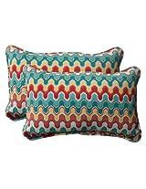 Pillow Perfect Indoor/Outdoor Nivala Corded Rectangular Throw Pillow, Blue, Set of 2