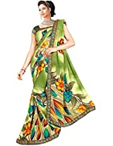 Shree Bahuchar Creation Women's Chiffon Saree(Skb27, Green)