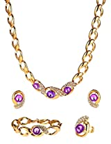 Purple crystals stylish Jewellery Set with Ring