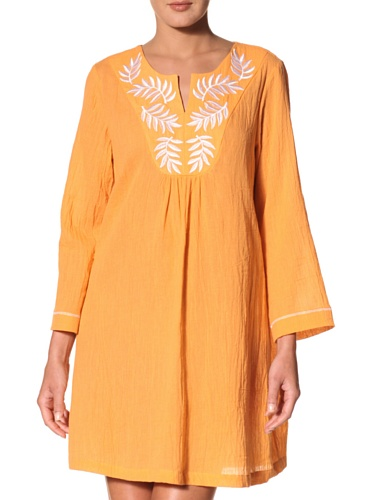 Oscar de la Renta Women's Long Sleeve Embroidered Tunic (Tangerine)