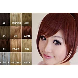 X&Y Angel Girls One Piece Hair Extensions Fashion Front Fringe Bangs/Fringes Clip In On (#4/6 (Dark Brown))