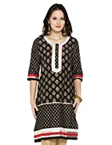Anahi Women Princess Cut Kurta (256592231_BLACK_M)