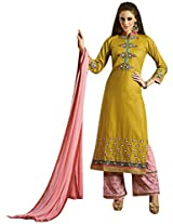 Kessi Fabrics Women's Cotton Unstitched Salwar Suit (Gold)