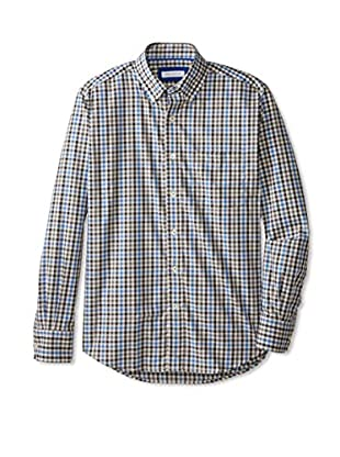 Alex Cannon Men's Classic Long Sleeve Button Down Gingham Check (Blue)