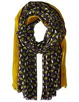 Saro Lifestyle Women's Geo Design Wool Shawl, Purple, One Size