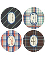 Lucy Darling Shop Monthly Baby Sticker - Baby Boy - Plaid Design - Months 1-12