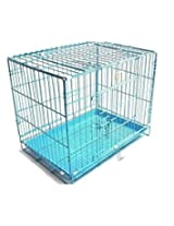 PET CLUB 51 HIGH QUALITY STAINLESS STEEL DOG CAGES -SKY BLUE -MEDIUM 24 INCHES