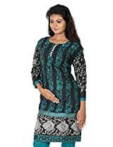 B3Fashion Party wear elegant black cotton semi stitched partywear Kurti with vertical embroidered pattern and stone work in the neckline, silver zari embroidered 3/4 sleeves
