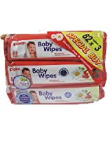 Pigeon Baby Wipes (3 Packs, 82 Sheets Per Pack)
