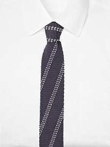 Ivy Prepster Men's Chancellor Diagonal Knit Tie (Charcoal/White)