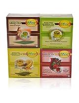 GTEE Green Tea Bags - Ginseng & Hibiscus Tea Bags & Moringa Tea Bags & Green Tea Bags - Lemon & Ginger (10 Tea Bags X 4 PACKS)