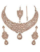 I Jewels Traditional Rhodium Plated Elegantly Handcrafted Stone Necklace Set with Maang Tikka & Earrings for Women M4040ZW (White)