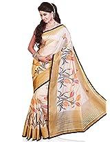 Meghdoot Artificial Tussar Silk Saree (RA6623_CREAMxBLACK Embroidered Cream and Black Colour Sari)