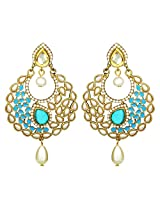 Peora Crescent Sky Blue Pearl Drop Earrings for Women
